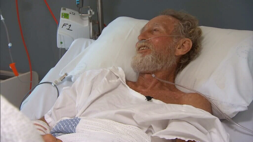 Vegan Colin Rowland, 62, survived a shark attack yesterday morning. (9NEWS)