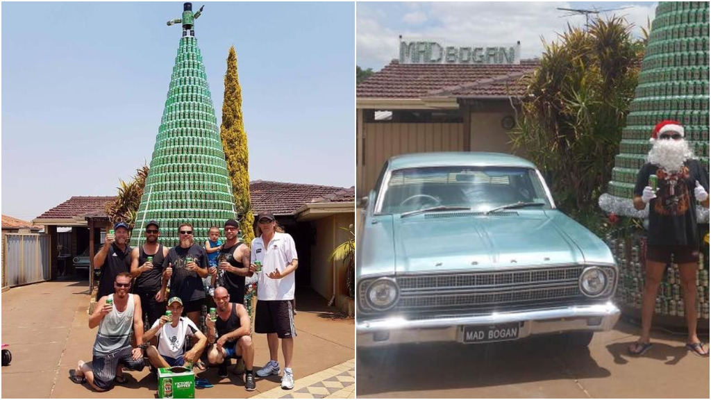 Perth man builds Christmas tree entirely from VB cans