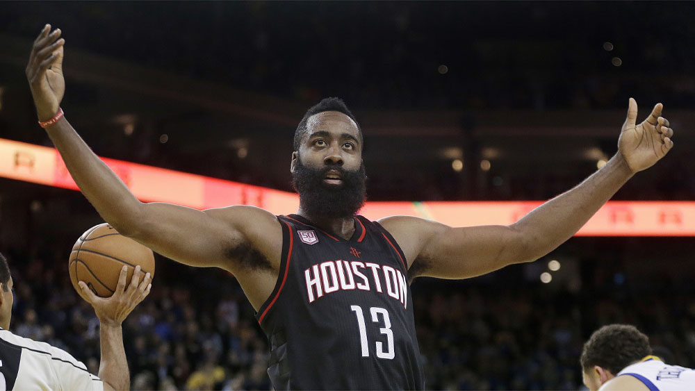 James Harden starred for the Rockets. (AAP)