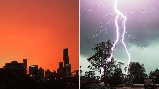 In pictures: 'Dangerous' Queensland storms bring lightning and orange skies
