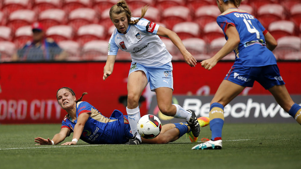 Sydney FC player Remy Siemsen in action against Newcastle. (AAP)