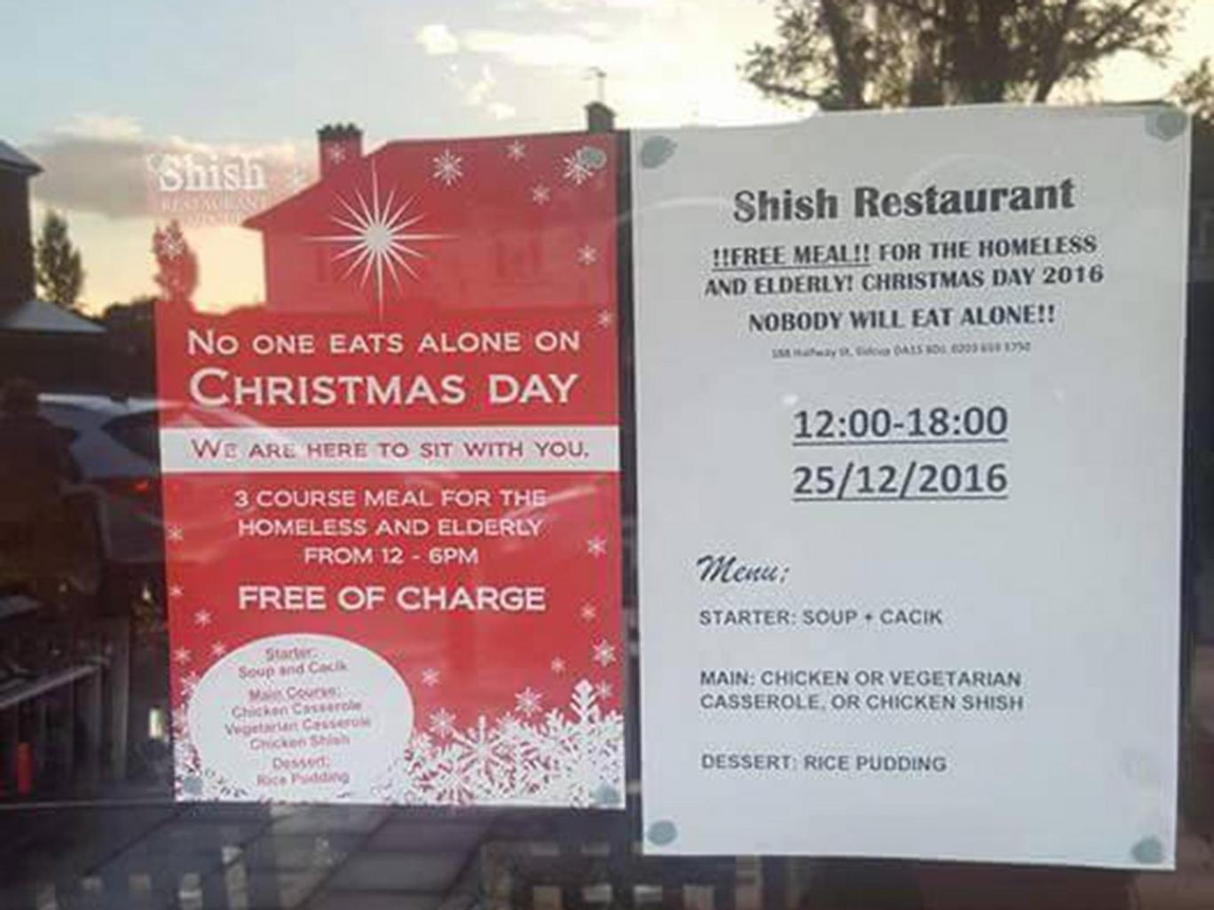 Muslim restaurant owner offers free Christmas meals for homeless and the elderly