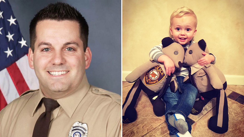 Slain police officer's son gifted with teddy bears sewn from father's uniform