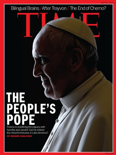 Pope Francis seemed to sprout red horns on his 2013 cover. (TIME Magazine)