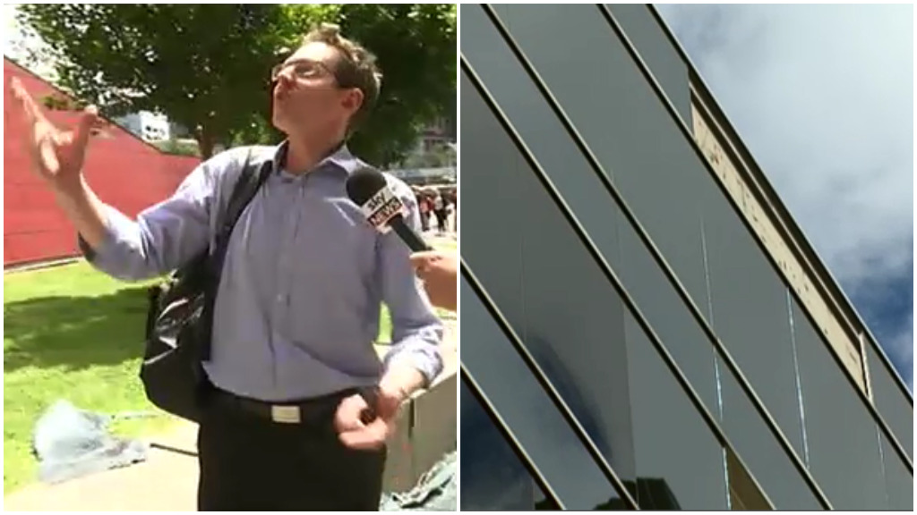 Pedestrian Simon Priest narrowly avoided injury after a pane of glass fell from a building in Melbourne's Southbank. (Sky News/9NEWS)