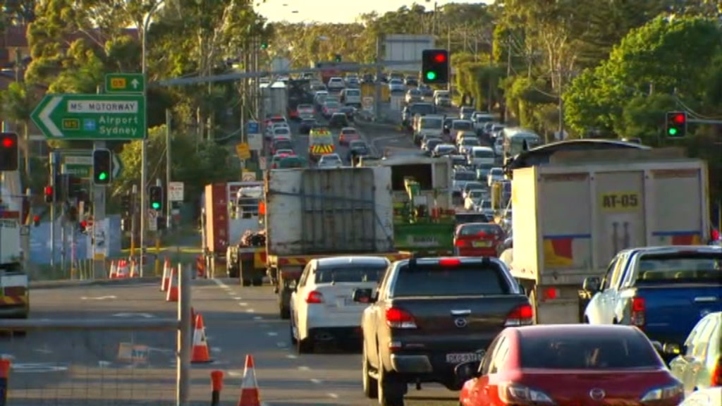 Traffic is backed up along the M5 for at least five kilometres. (9NEWS)