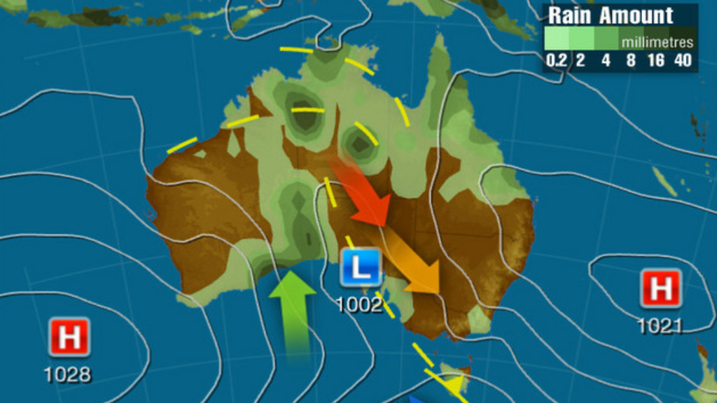 A broad low pressure trough from Western Australia will bring warm conditions to the south and east. (Weatherzone)