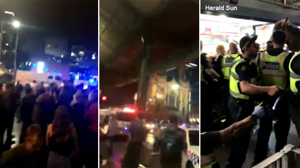 Footage of the brawl shows police trying to break up crowds. (Supplied)