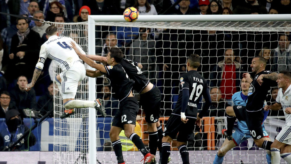 Sergio Ramos rescued Real with a 93rd minute header. (AAP)