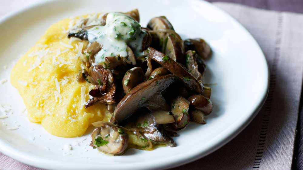 Mushroom, mascarpone and polenta bake. Image: Kyle Books