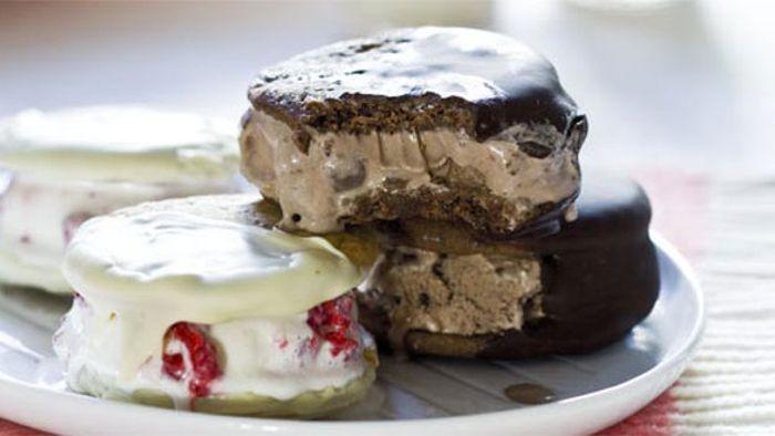 Triple choc-malt ice-cream sandwiches