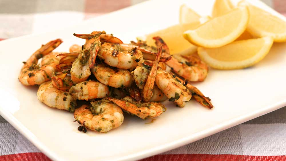 Barbecued Coriander and pepper prawns