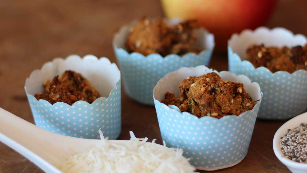 Apple, chia and coconut muffins