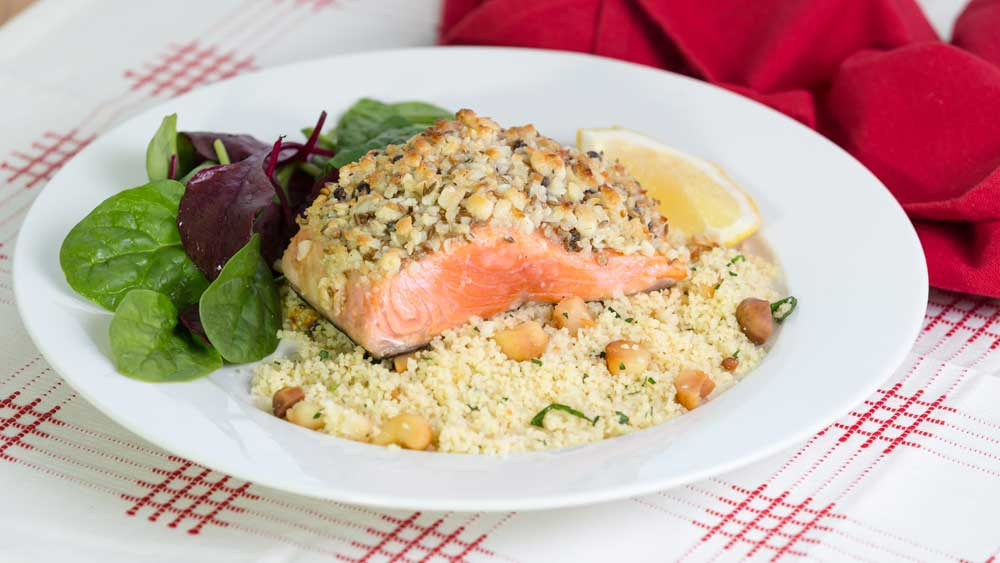 Lyndey Milan's macadamia crusted salmon