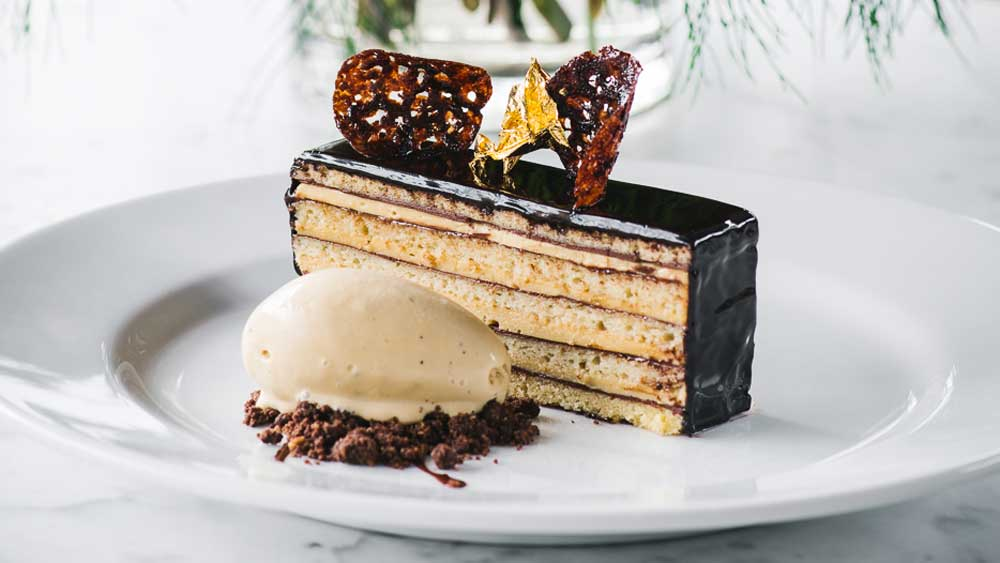 Bistro Moncurs Opera Cake With Vanilla Crme Anglaise