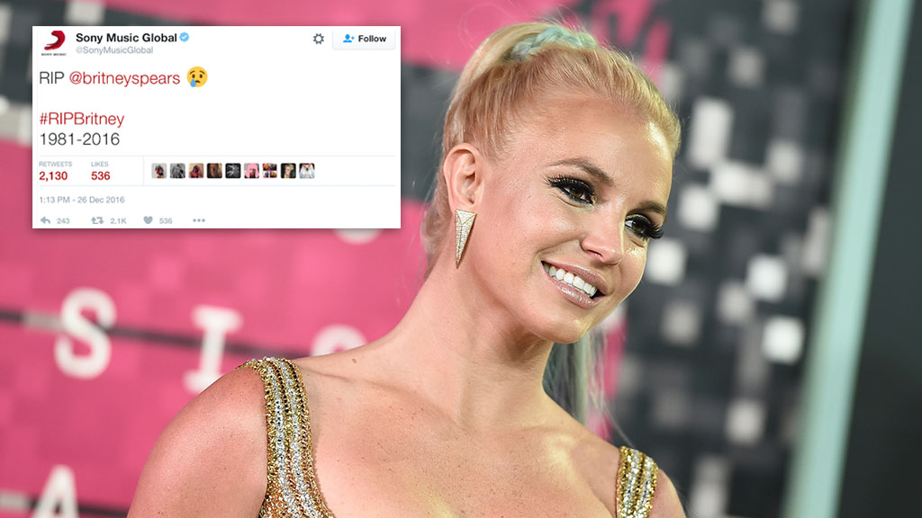 Sony blames hackers after tweeting claims Britney Spears has died