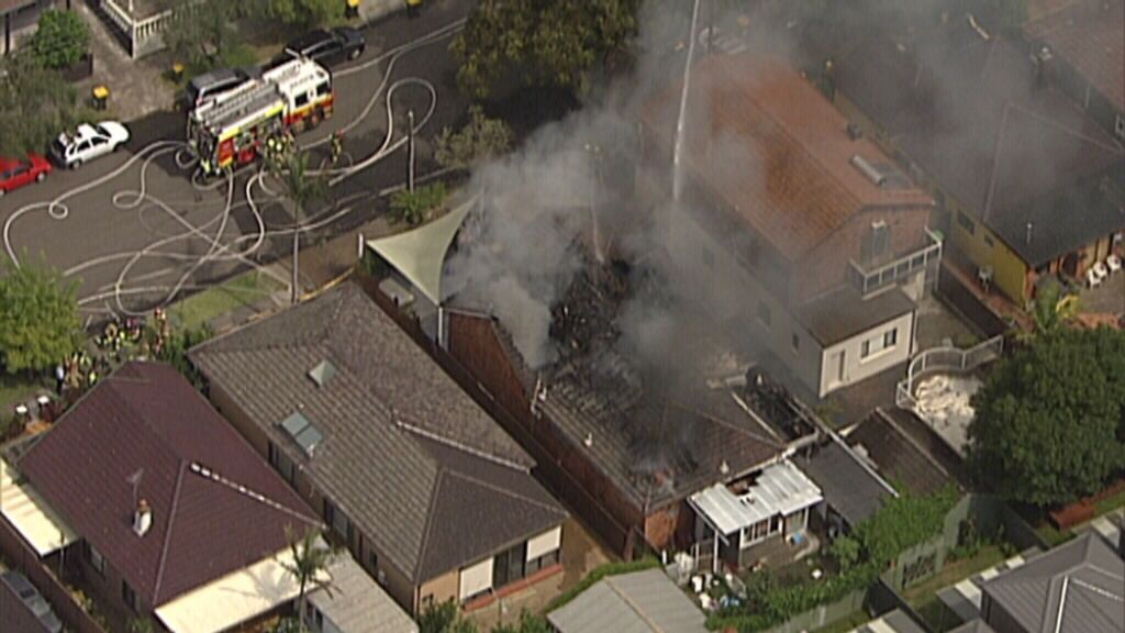 A home has been destroyed by fire in Rosebery. (9NEWS)