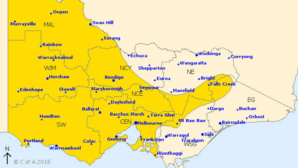 Severe weather warning issued for heavy rain and damaging winds in Melbourne and parts of Victoria