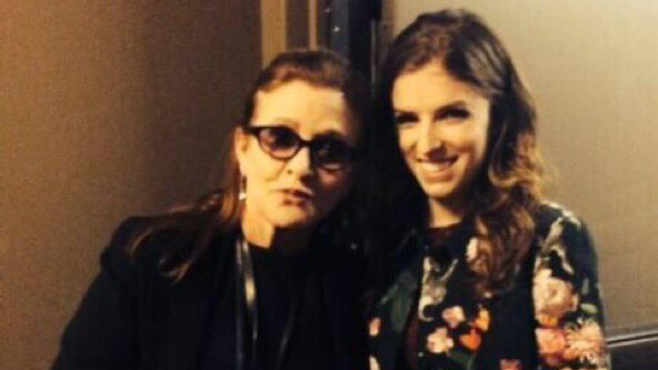 Actress Anna Kendrick shared this snap of her and Carrie Fisher on Twitter. (Twitter/ Anna Kendrick)