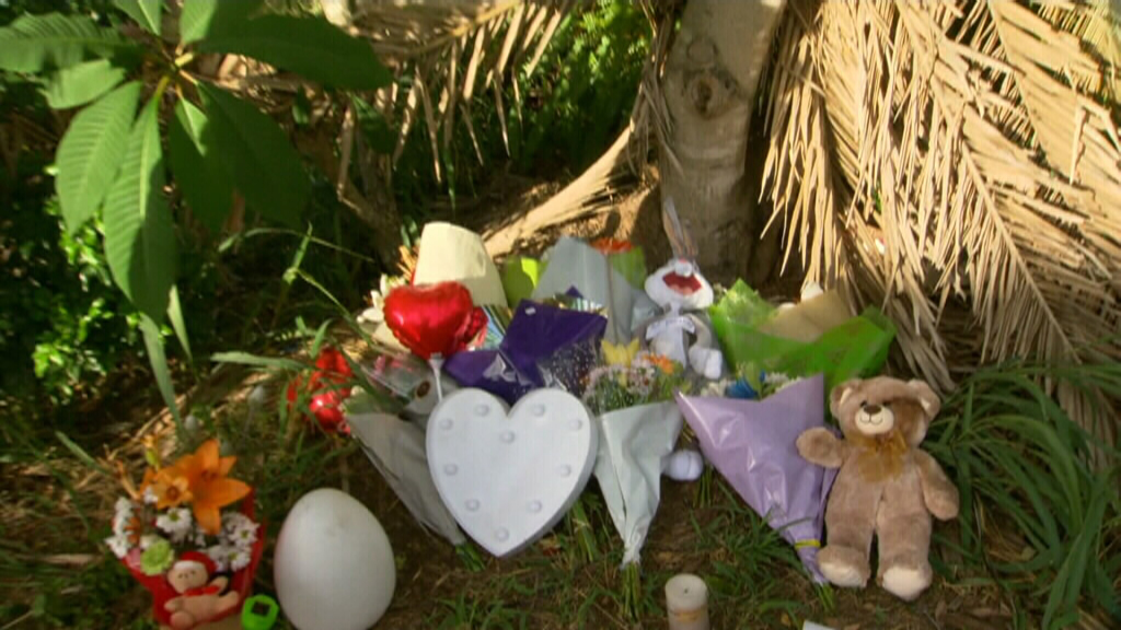 Locals and family friends placed flowers, teddy bears and balloons in memory of the young boy. (9NEWS)