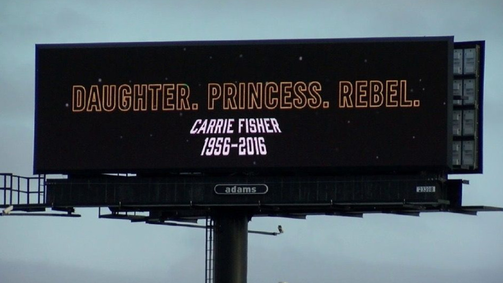 'Daughter, princess, rebel': Billboard pays tribute to Carrie Fisher in US