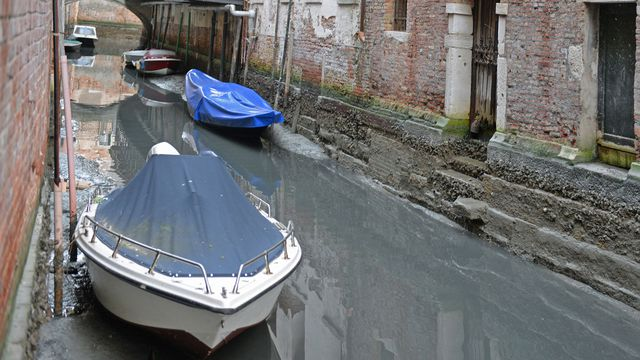 Rare low tide exposes Venice's filthy canals