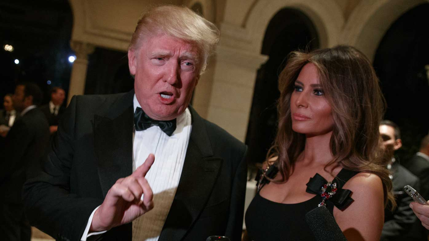 Donald Trump and his wife Melania at the New Year's Eve celebration at Mar-a-Lago, Florida. (AP)