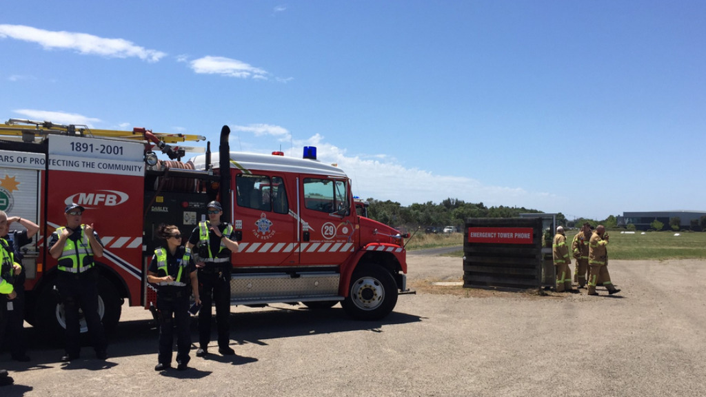 Emergency services remain on scene at Moorabbin Airport. (Twitter via MFBChief)