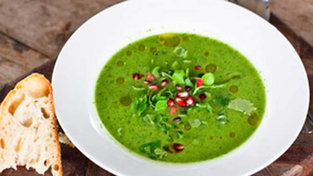 "Green tomatoes and green capsicums give this <a href=""http://kitchen.nine.com.au/2016/06/06/13/19/spicy-green-gazpacho"" target=""_top"">spicy green gazpacho</a> its vibrant colour and slightly different take on the classic cold soup."