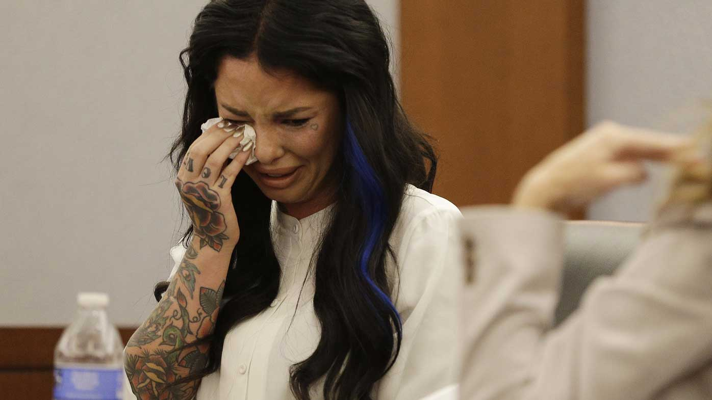 Christine Mackinday, aka Christy Mack, cries on the stand during a 2014 preliminary hearing. (AP)