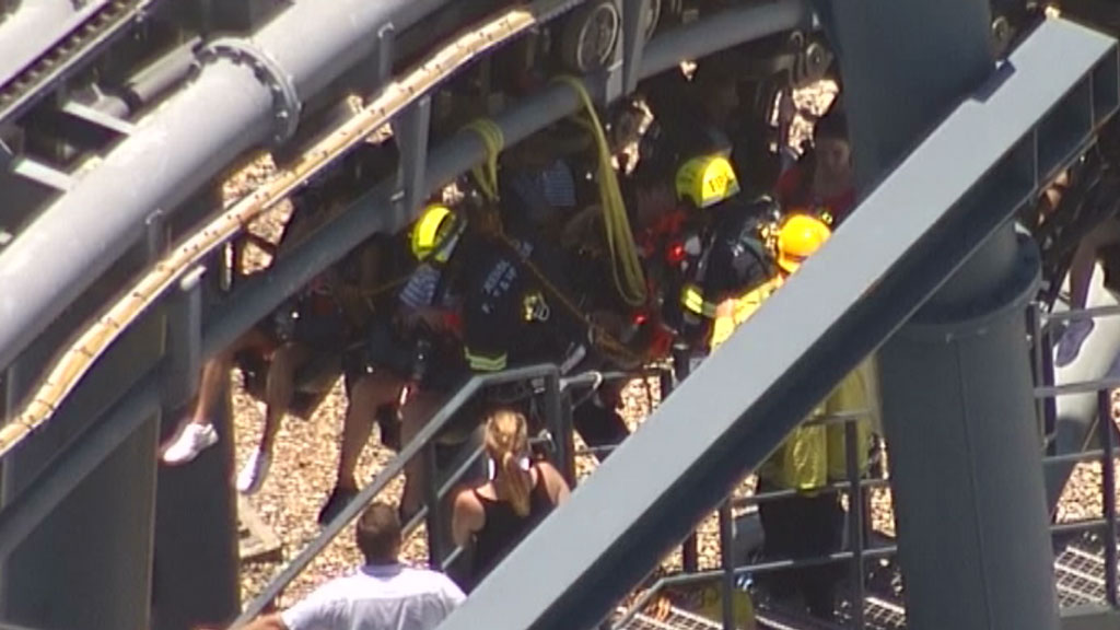 A rollercoaster at Movie World on the Gold Coast became stuck. (9NEWS)