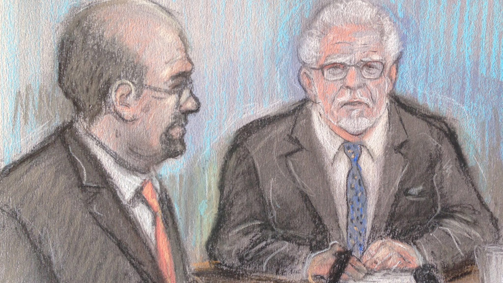 Court artist sketch by Elizabeth Cook of Rolf Harris appearing by video link at Southwark Crown Court in London. (AAP)