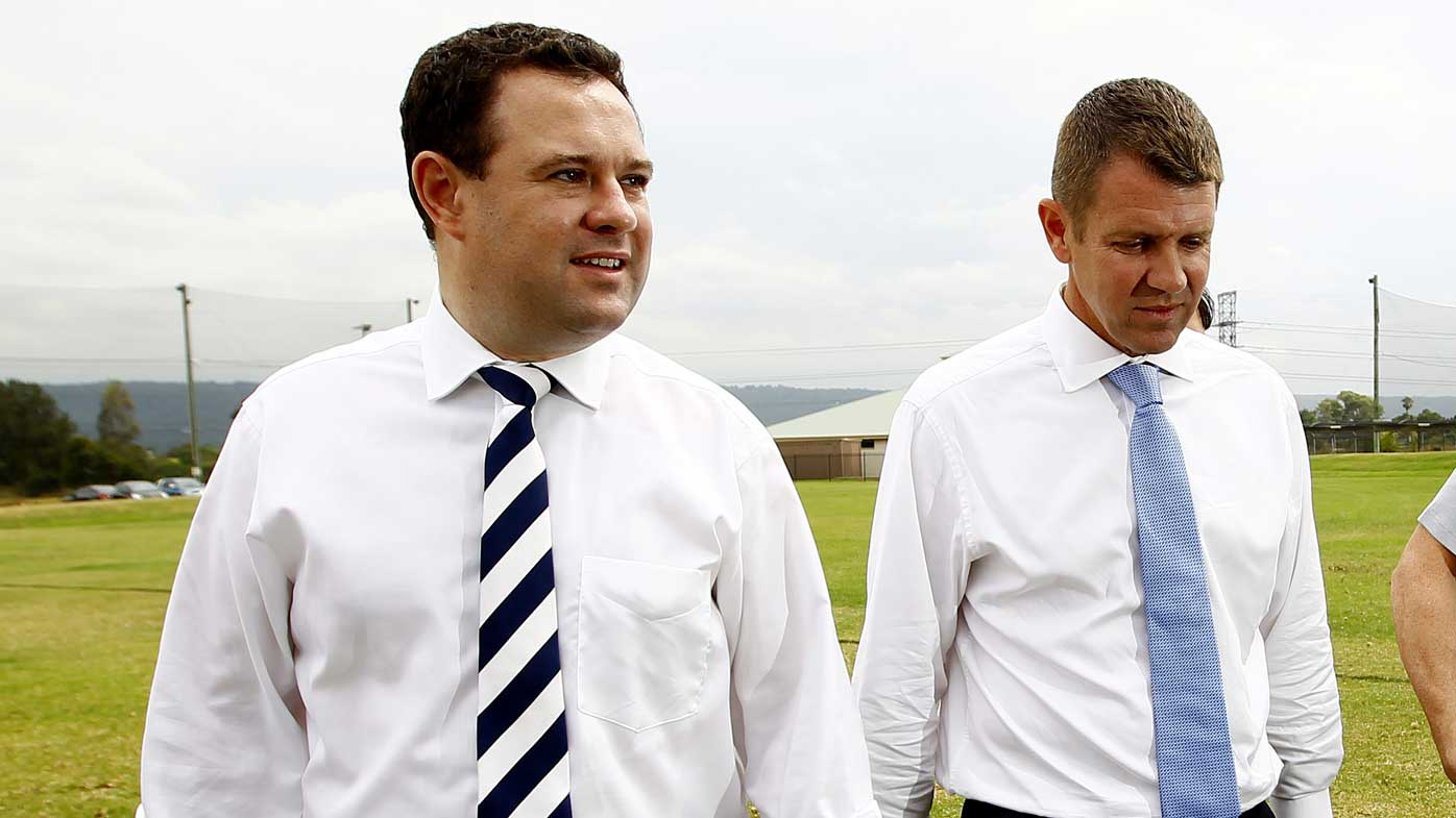 Sports Minister Stuart Ayres with Mike Baird. (AAP)