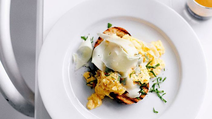"""Recipe:<a href=""""http://kitchen.nine.com.au/2016/05/16/13/00/eggs-on-toast-with-asiago"""" target=""""_top"""">Eggs on toast with Asiago</a>"""