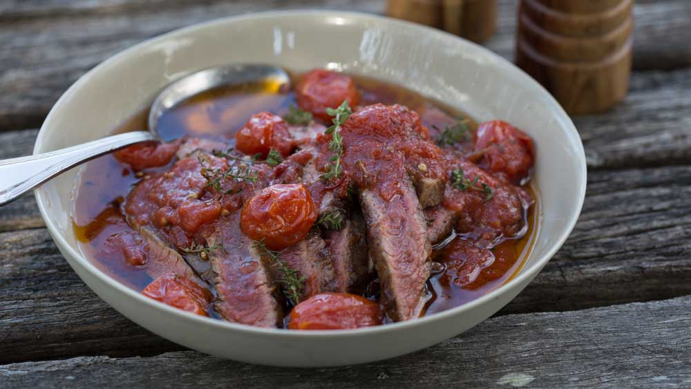 Paul West's skirt steak in tomato oil