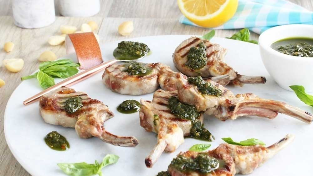 Vitamix chargrilled lamb cutlets with pesto