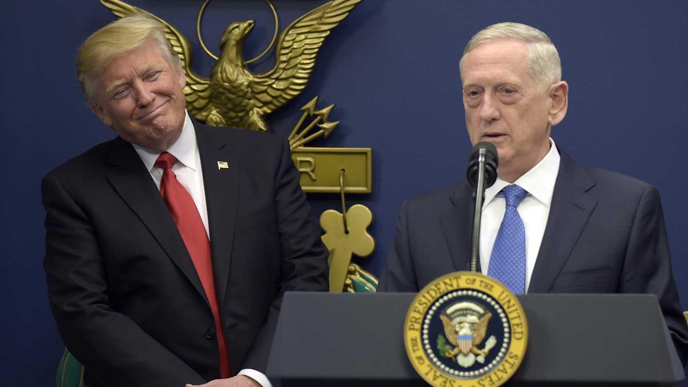 Donald Trump listens to Defence Secretary James 'Mad Dog' Mattis. (AP)
