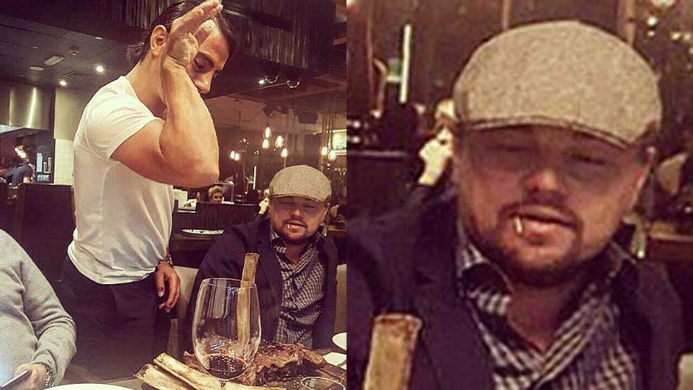 Salt Bae seasons Leonardo DiCaprio's steak in Instagram picture