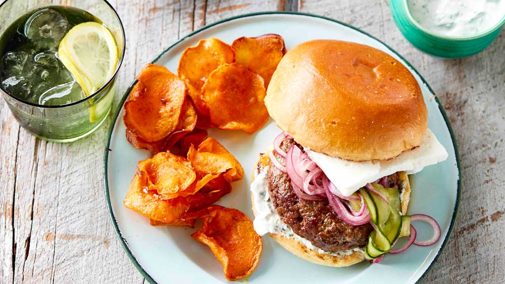 Lamb and feta burger with sweet potato crisps. Image: We Love Our Lamb