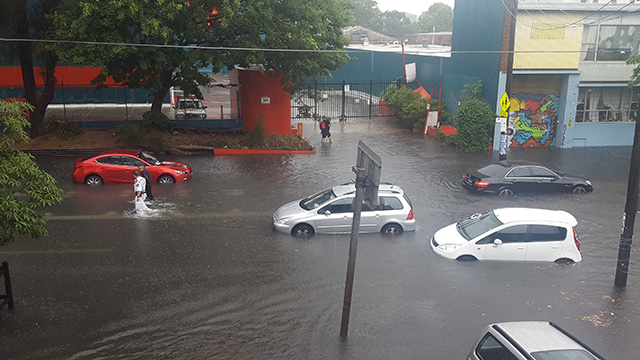 Flooding on Botany Road at Waterloo left cars stuck in the middle of the street. (Supplied: Roberto Romeo)