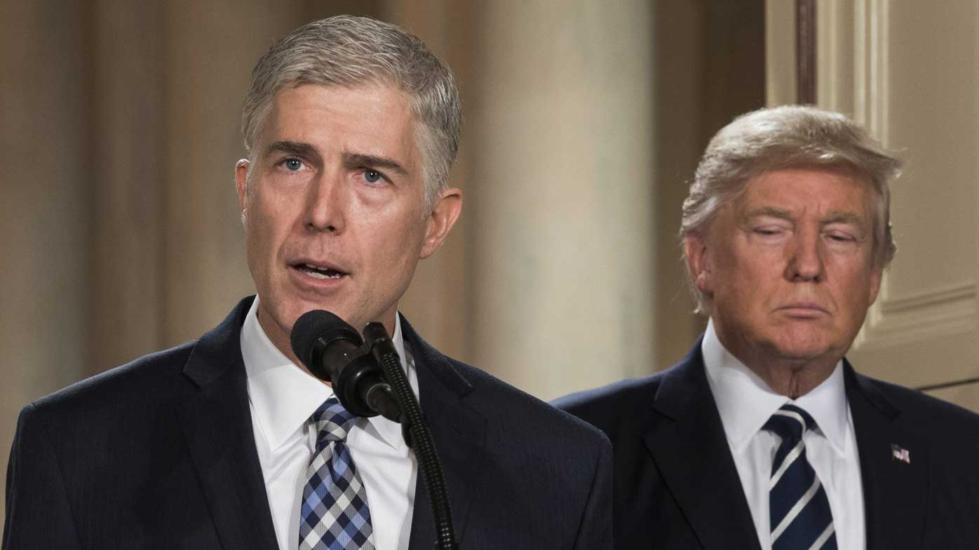 Neil Gorsuch speaks after being nominated to the Supreme Court by Donald Trump. (AP)