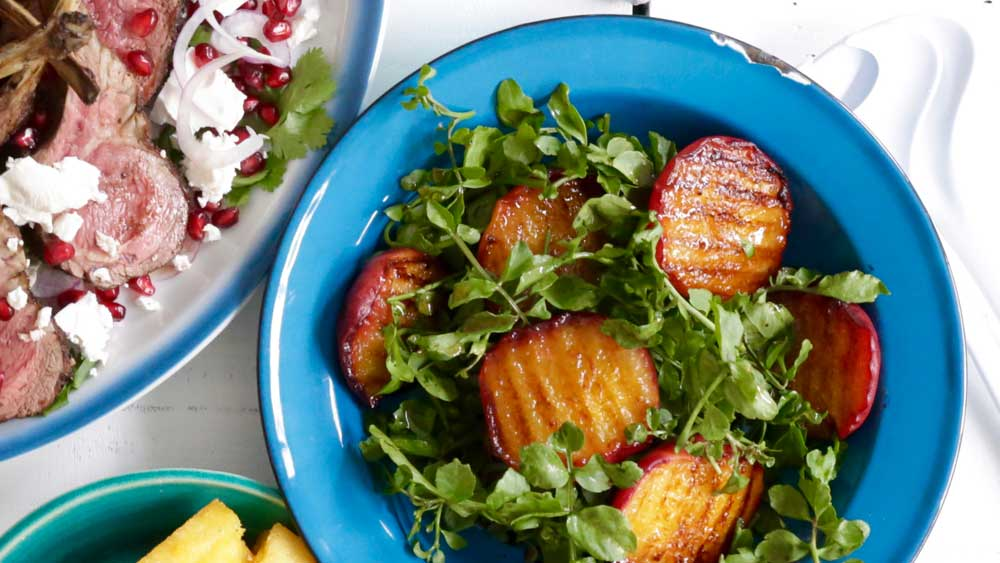 Grilled peach and watercress salad recipe