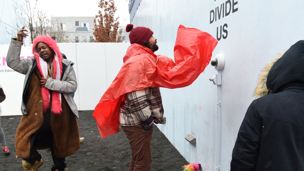 The projeft involved LaBeouf and others chanting outside a museum. (AFP)