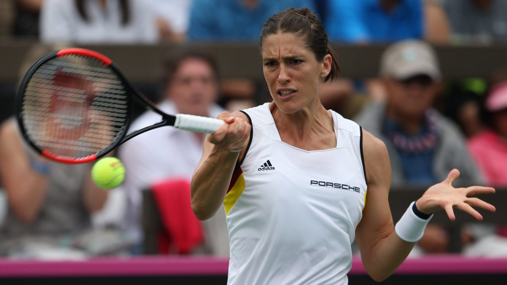 Andrea Petkovic in action during the Fed Cup World Group First Round in Hawaii. (AAP)