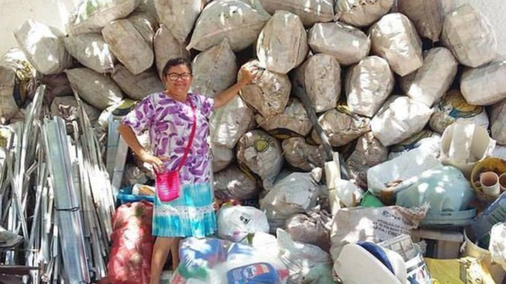 Brazilian mother gathers 300kg of recycling to fund son's study dream