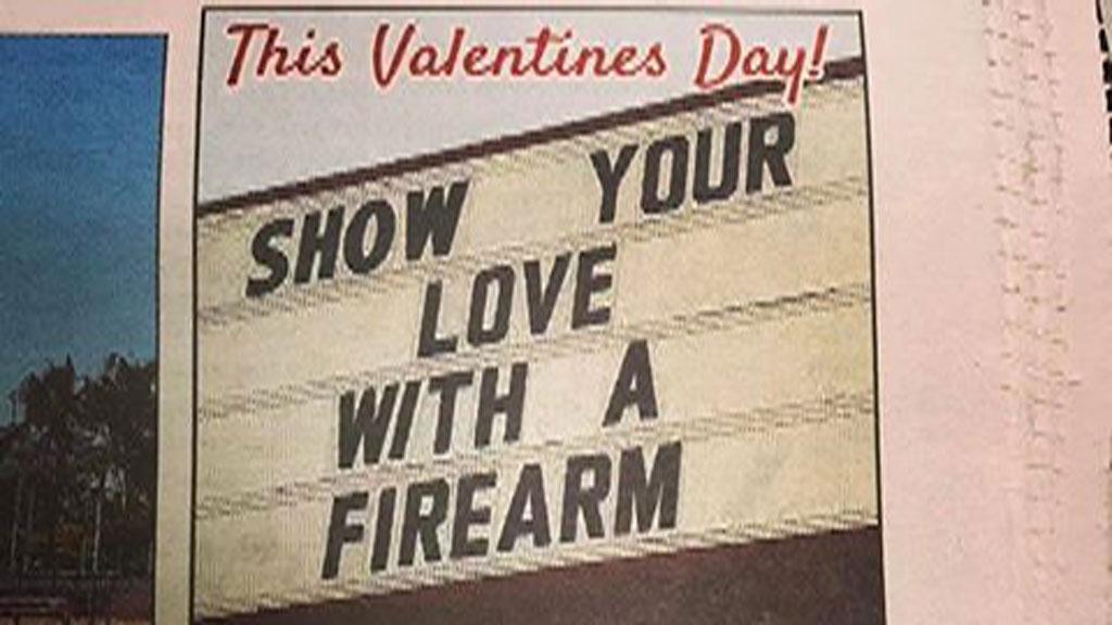 Vic gun shop owner defends Valentine's ad