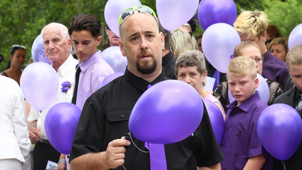 "Daniel O'Brien, Ms Bradford's brother, said the funeral was ""the hardest thing"" he has ever done. (AAP)"