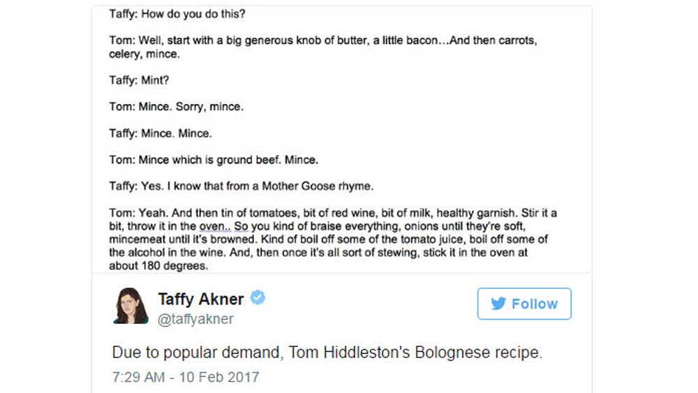 Tom Hiddleston's Bolognese
