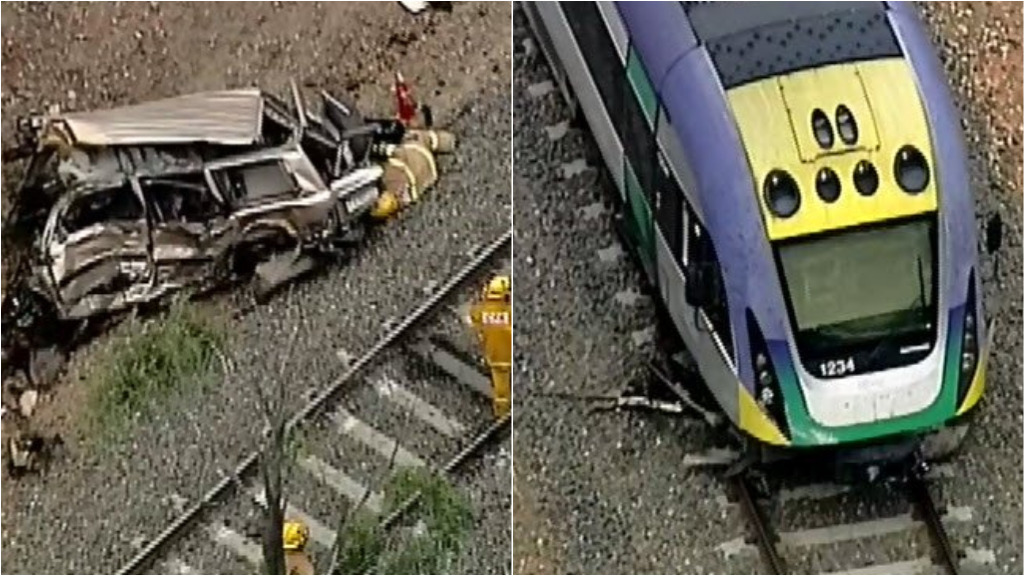 Two people suffer minor injuries after train hits abandoned car in regional Victoria