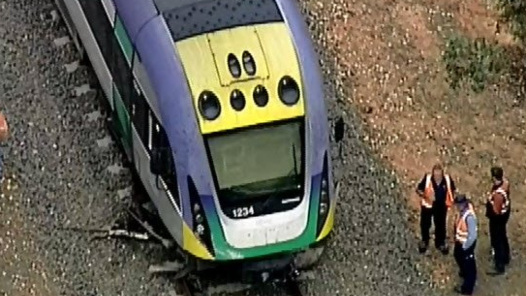 The train derailed about 2.30pm. (9NEWS)